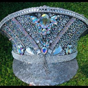 Accessories - Rhinestone Military Hat ~ Festival Fashion